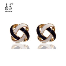 DREJEW Fashion Black White Square Ball Statement Earrings Sets 2019 925 Crystal Stud for Women Wedding Jewelry HE4611