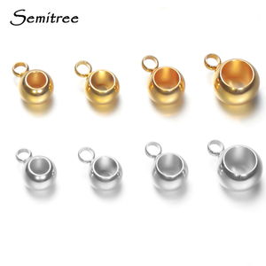 Semitree 20pcs Gold Stainless Steel Spacer Beads Loose Loose Beads Big Hole Positioning Beads DIY Charm Bracelets Jewelry Making(China)