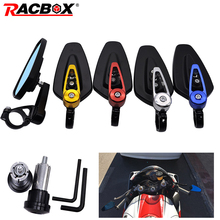 1 Pair motorcycle bar end mirror Universal Aluminum Rear View Black Handle Side Rearview Mirrors handlebar for moto