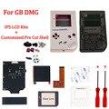Комплекты ЖК-экранов GB DMG IPS V2 и настраиваемый предварительно вырезанный корпус с логотипом для GameBoy классический ГБ DMG с кнопкой и резиновым...