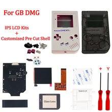 Jogos da tela do lcd do gb dmg ips v2 & o escudo pre-cortado personalizado do alojamento com logotipo para o clássico gb dmg do gameboy com botão e almofadas de borracha