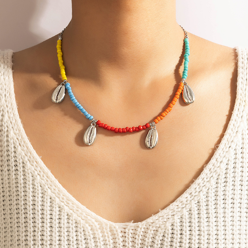 Tocona 2021 Trendy Colorful Bead Shell Pendant Choker for Women Bohemian Clavicle Chain Beach Jewelry Party Accessories 18117