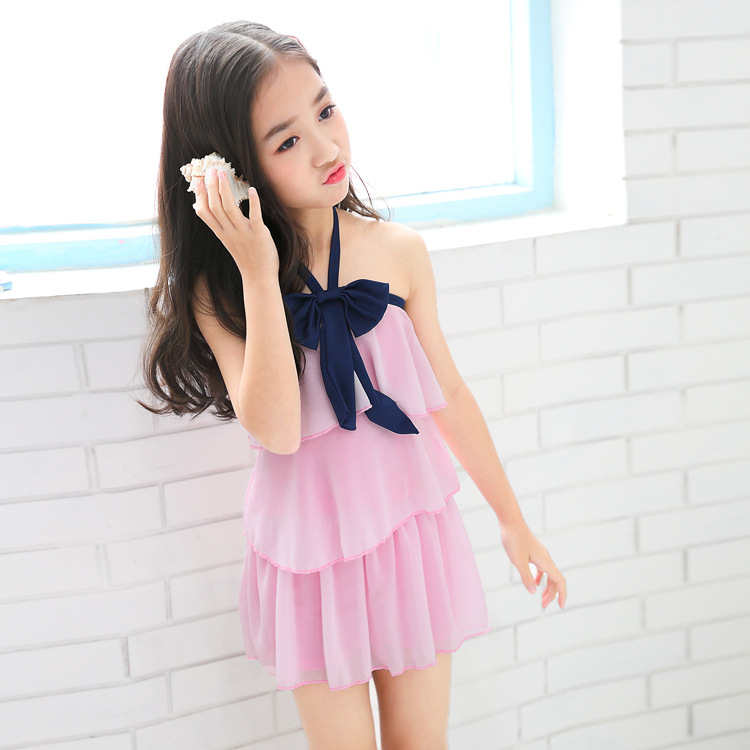 2019 New Style KID'S Swimwear GIRL'S Children One-piece Princess Dress-Cute Baby South Korea Students Swimwear Wholesale