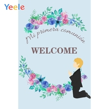 Yeele First Communion Backdrop Boy Flower Photography Background Custom Vinyl Photocall Photobooth Photophone For Photo Studio allenjoy backgrounds for photography studio blue little boy my first holy communion customize backdrop original design photocall