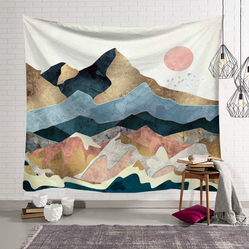 Wall Tapestry Mountain Sunrise Oil Painting Pattern Boho Tapestry Polyester Printed Macrame Wall Hanging Home Decoration