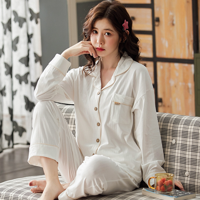 Sping Autumn Women's Sleepwear Pajamas Set Cotton Long Sleeved V-neck Pajamas Home Wear Leisure Clothes Solid Color Nightwear 2