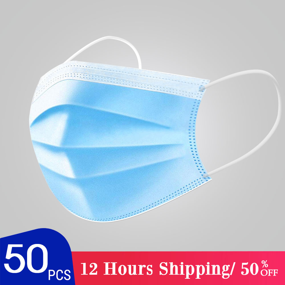 UPS DHL Fast Delivery Mask Disposable 3 Layer Ply Filter Mask Mouth Face Mask Filter Safe Breathable Dustproof Protective Mask