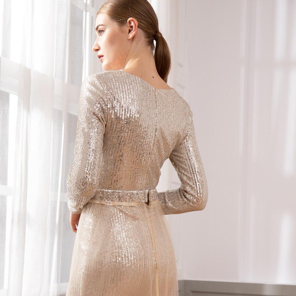 Vestido de fiesta de noche elegante con lentejuelas y borla Maxi vestido con escote en V-in Vestidos from Ropa de mujer    2