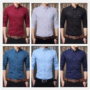 Image 4 - TFETTERS camisa manga larga para hombre, informal, de algodón, tejido Jacquard, Camisa ajustada, camisas de vestir, ropa para hombre