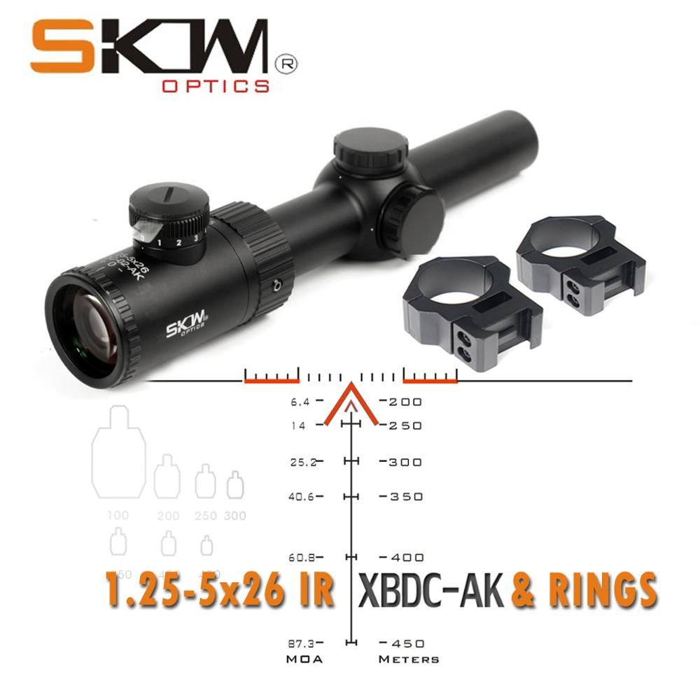 SKWoptics 1.25-5x26A Tactical Riflescopes Hunting For AK AR, M4 Kalashnikov Sight Rifle Scope BDC Reticle 30mm Scope Rings