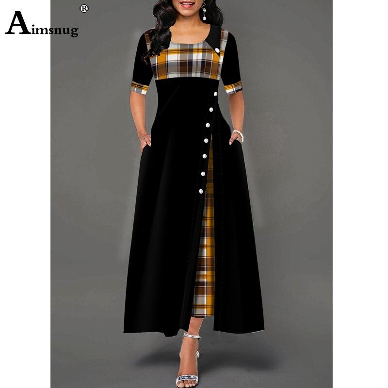 Plus size 4xl 5xlvWomen Elegant Long Plaid Print Party Dresses Irregular Ladies Vintage Button Dress