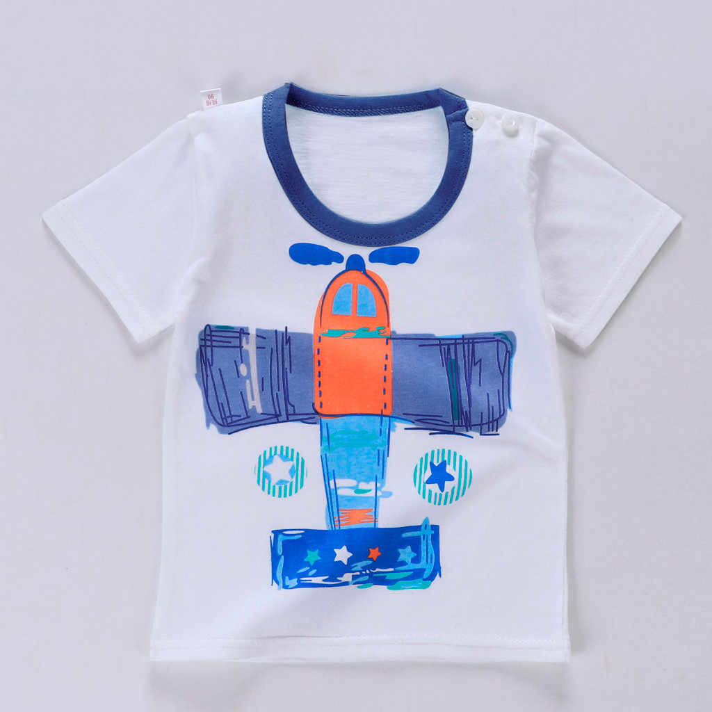 הגעה חדשה לפעוטות ילד ילדים בגדים מטוס הדפסה קצר שרוול קריקטורה חולצות חולצה מכנסיים 2 חתיכה סט תינוק ילד ילדה מטליות תלבושת