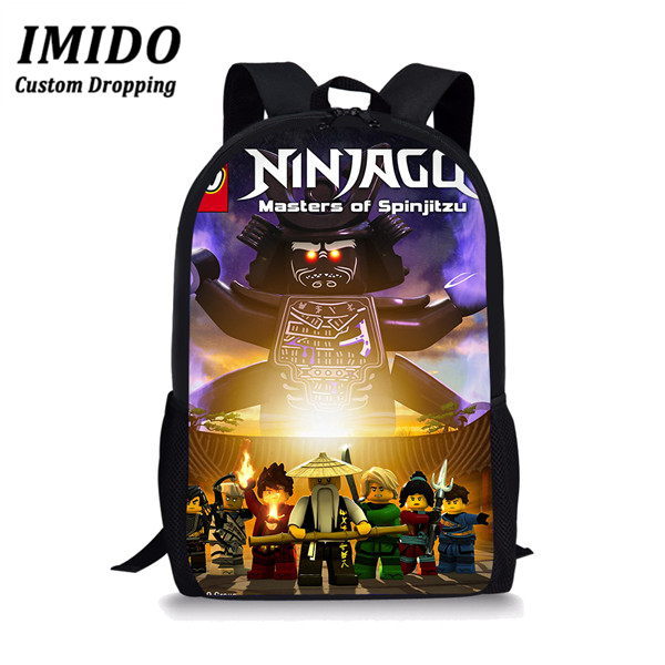 IMIDO 2019 Game Ninjago Students School Bag For Boys Teens Backpack School Supplies Package Shopping Shoulder Bag Women Mochila