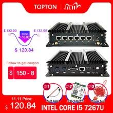 Безвентиляторный 6 локальных сетей промышленный Мини ПК Intel Core i5 7267U i3 7167U 3865U брандмауэр ПК Pfsense маршрутизатор 4 * USB3.0 2 * RS232 HDMI 4G/3G Wi-Fi