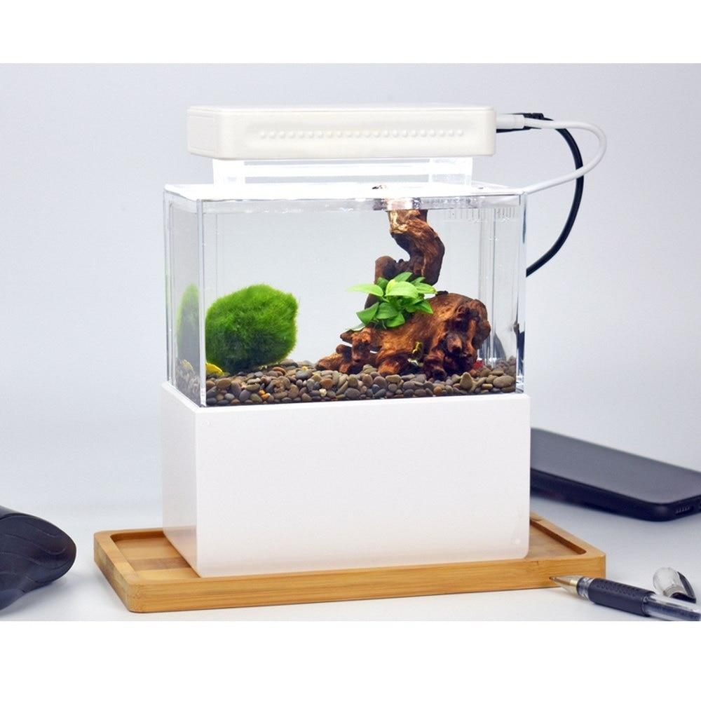 Aquarium USB Aquarium Mini réservoir de poisson en plastique Portable de bureau Aquaponic Aquarium bol de poisson avec Filtration de l'eau LED silencieux