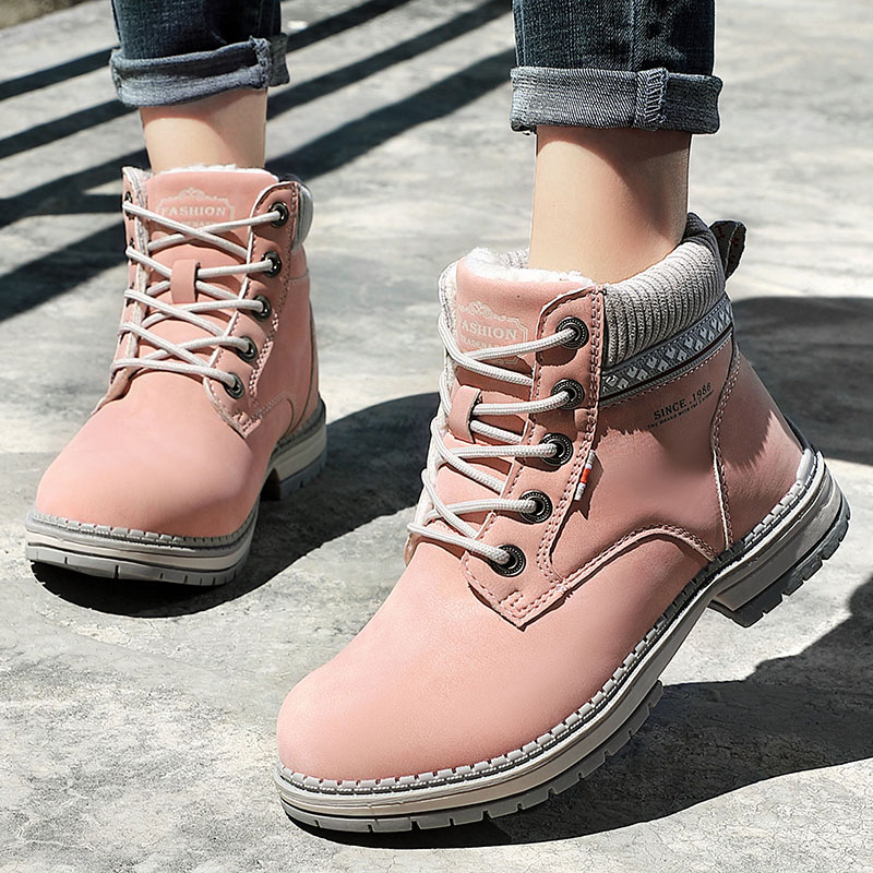 2020 New Women Winter Snow Boots Fashion Leather Warm Plush Martin boots Outdoor Casual British Retro Ladies Pink Ankle Boots