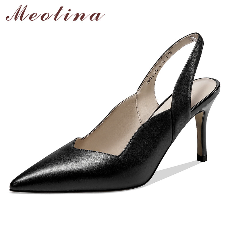 Meotina High Heels Women Pumps Natural Genuine Leather Thin High Heel Slingbacks Shoes Cow Leather Pointed Toe Office Lady Shoes