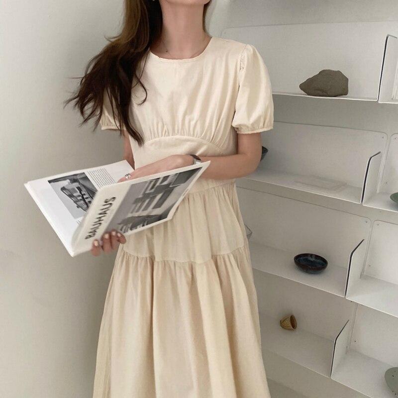 Women Summer Vintage Puff Sleeve A- Line Long Dress Elegant High Waist Ruffle Back Bow Tie Dresses Round Collar Short Sleeve