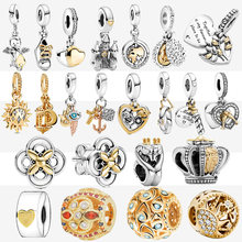 Grand Shine 925 Sterling Silver Beads Map Golde Color Shoes Pendant Castle Charms fit Original pandora Bracelets Women Jewelry