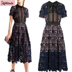 Short sleeve flower elegant hollow out Self-Portrait dresses designer 2018 high quality runway turn-down collar lace long dress(China)