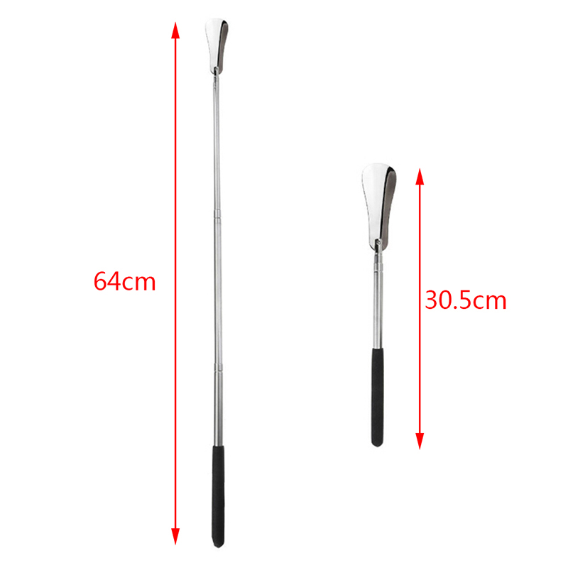 1PCS Professional Adjustable Handle Shoe Horn Useful Stainless Steel Metal Shoehorn