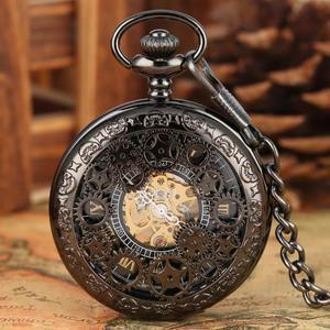 Image 4 - הגעה חדשה מעולה הילוך גלגל חלול שעון כיס מכאני Fob שעונים יד רוח מכירה לוהטת גברים נשים מתנה עם שרשרת שעון