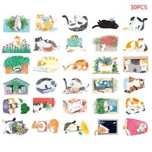 Postcard Hand-Painted Cat Shape Cat Backyard Cute Hand-Painted Graffiti Style Small Fresh Cute Animal Shaped Card