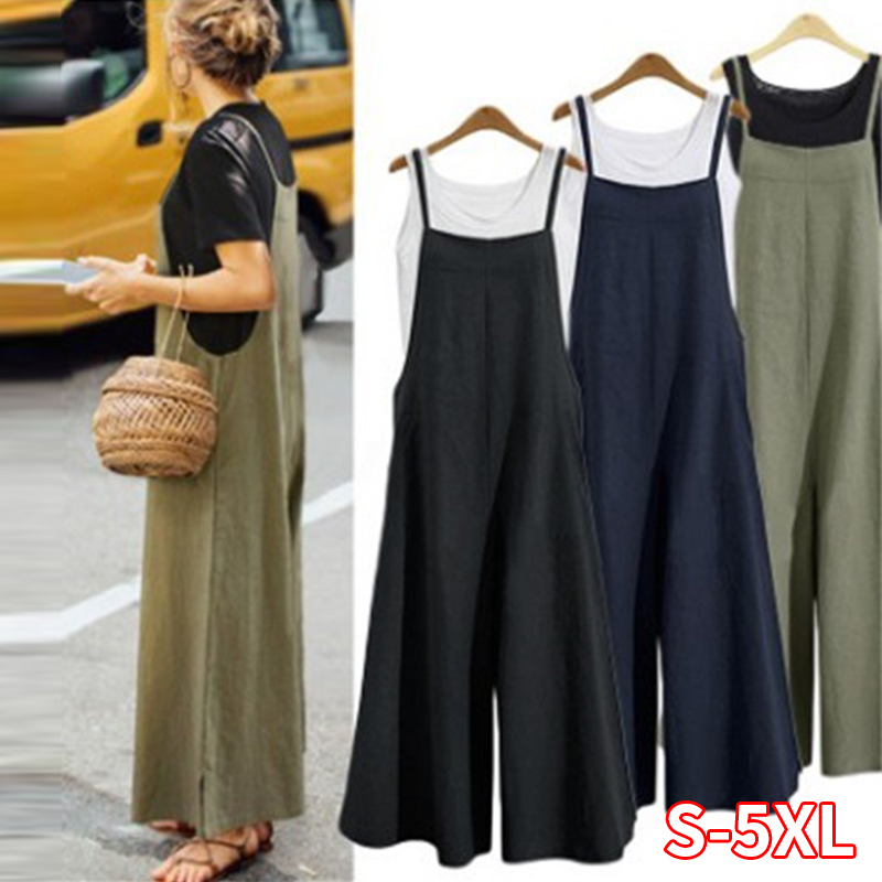 Women Casual Wide Leg Pants Women Cotton Linen Jumpsuit Loose Romper Strappy Dungaree Bib Overalls Plus Size S-5XL