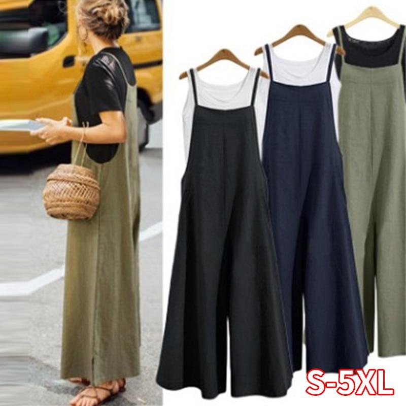 Women Casual Wide Leg Pants Women Cotton Linen Jumpsuit Loose Romper Strappy Dungaree Bib Overalls Plus Size S-5XL