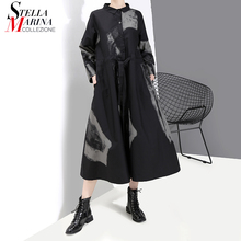 New 2020 Korean Style Women Apparel Full Sleeve Black Retro Shirt Dress Tie dyed Lady Large Size Printed Vintage Dress Robe 5458