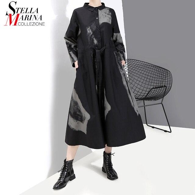 Nuovo 2020 Coreano Delle Donne di Stile di Abbigliamento Manica Pieno Nero Retro Della Camicia del Vestito Tie dyed Della Signora di Grandi Dimensioni Stampato Vintage dress Robe 5458