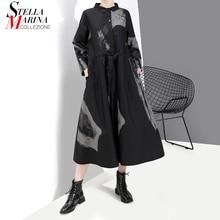 Robe rétro noire pour femmes, nouvelle collection de Style coréen, manches longues, imprimé, grande taille, à nouer, Robe Vintage, 2020