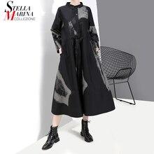 Vestido Retro negro de manga larga para mujer, ropa de estilo coreano, camisa teñida con lazo, Túnica Vintage de talla grande estampada, 2020