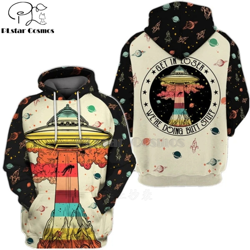 Men Women Harajuku Alien Saucer Man Extraterrestrial UFO Print 3d Hoodie Unisex Sweatshirt Pullover Zip Streetwear Tracksuit