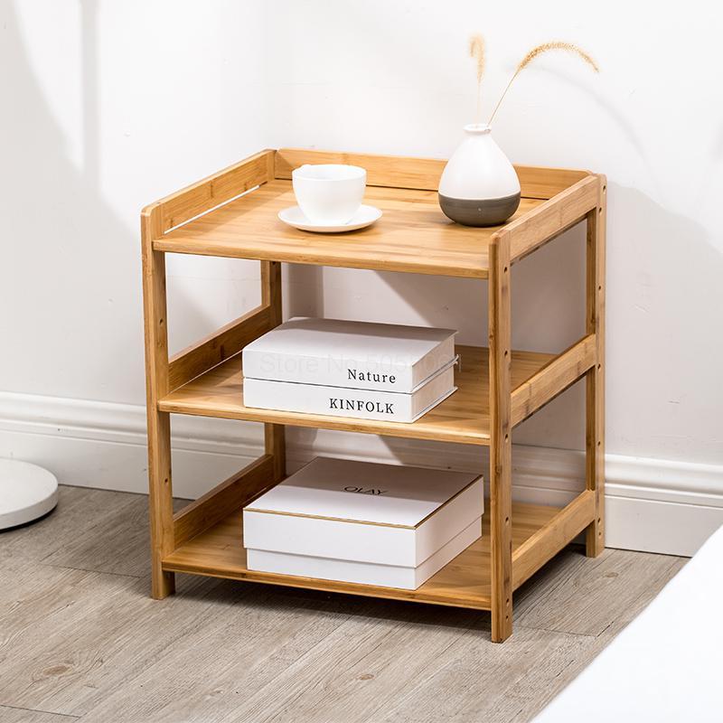 Uso Versatile Come Snack Bedside Table,Bamboo Bedside Shelf con Gestione dei Cavi,Facile Assemblaggio Organizzatore per Letti A Castello E Dormitorio-Legna