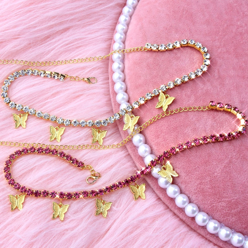 Caraquet Trendy New Big Rhinestone Chain Necklace For Women Gold Silver Color Butterfly Choker Necklace Jewelry Wedding Gift