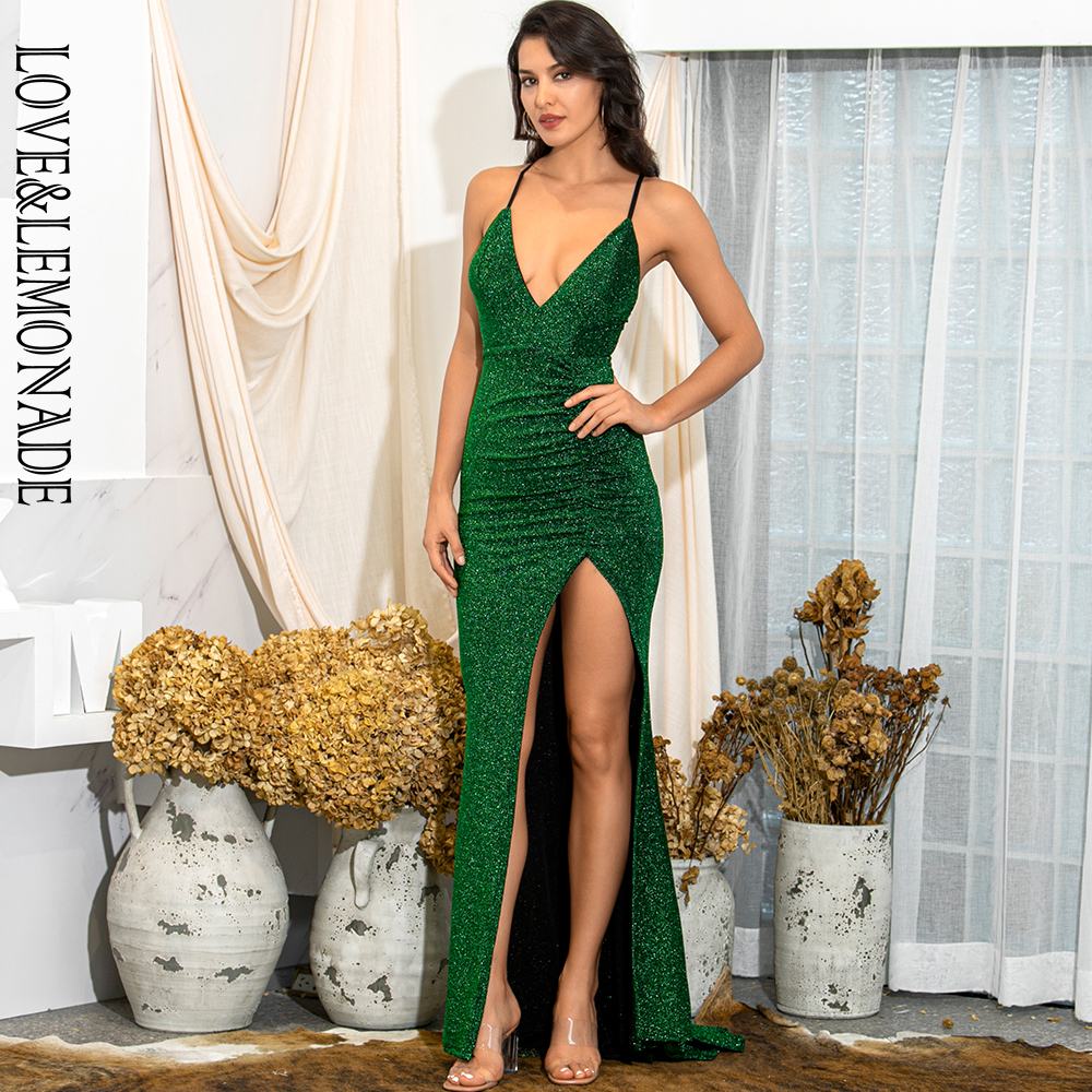 LOVE&LEMONADE Sexy Green Deep V-Neck Cut Out Bodycon Shiny Elastic Fabric Maxi Dress LM81709-1
