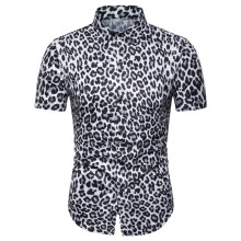 2019 summer style leopard print shirt men silk short sleeve eu size party mens shirts cufflinks