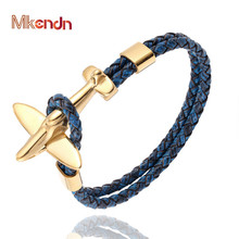 MKENDN Stainless Steel Gold Aviation Airplane Anchor Bracelets Men Women Retro Leather Bracelet Air force style Homme Jewelry цена