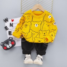 Baby Suit Pants Outfits Spring Newborn Toddler Boys Cartoon Yellow Black Casual Gray