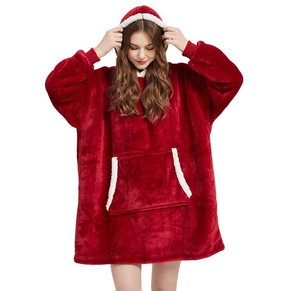 Winter Sherpa Blanket With Sleeves Ultra Plush Fleece Sweatshirt Blanket Hoodie Pink Grey Wine Blue Warm Flannel Hooded Blankets