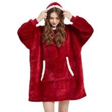 Manta de Sherpa con manga para invierno, manta de felpa con capucha, color rosa, gris, azul vino, cálida, de franela