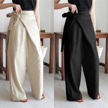 Women's Vintage Linen Cotton Trousers Celmia Long Pants Casual High Waist Office Solid Wide-leg Pantalon Femme Plus Size 5XL 7