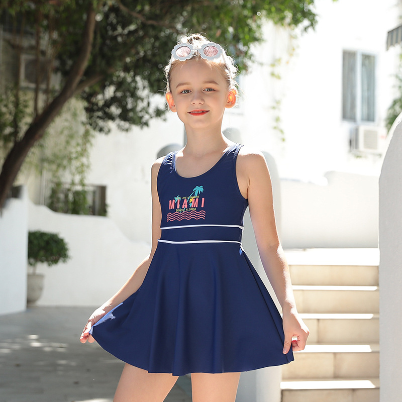 2019 New Style Solid Color Lettered KID'S Swimwear Fashion Girls Beach Conservative Boxers Children Swimwear