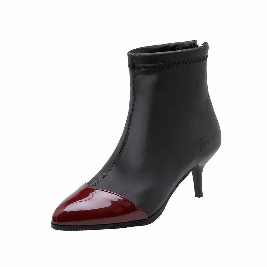 ESVEVA 2020 Moda Kadın Ayakkabı Kış yarım çizmeler Ince Yüksek Topuk Fermuar Sivri Burun Motosiklet Platform Çizmeler Boyutu 34-43