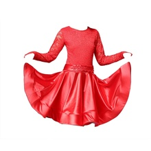Girls Lace Floral Dancewear Latin Dance Dress Costume Competition Kids Long Sleeve 904-A915