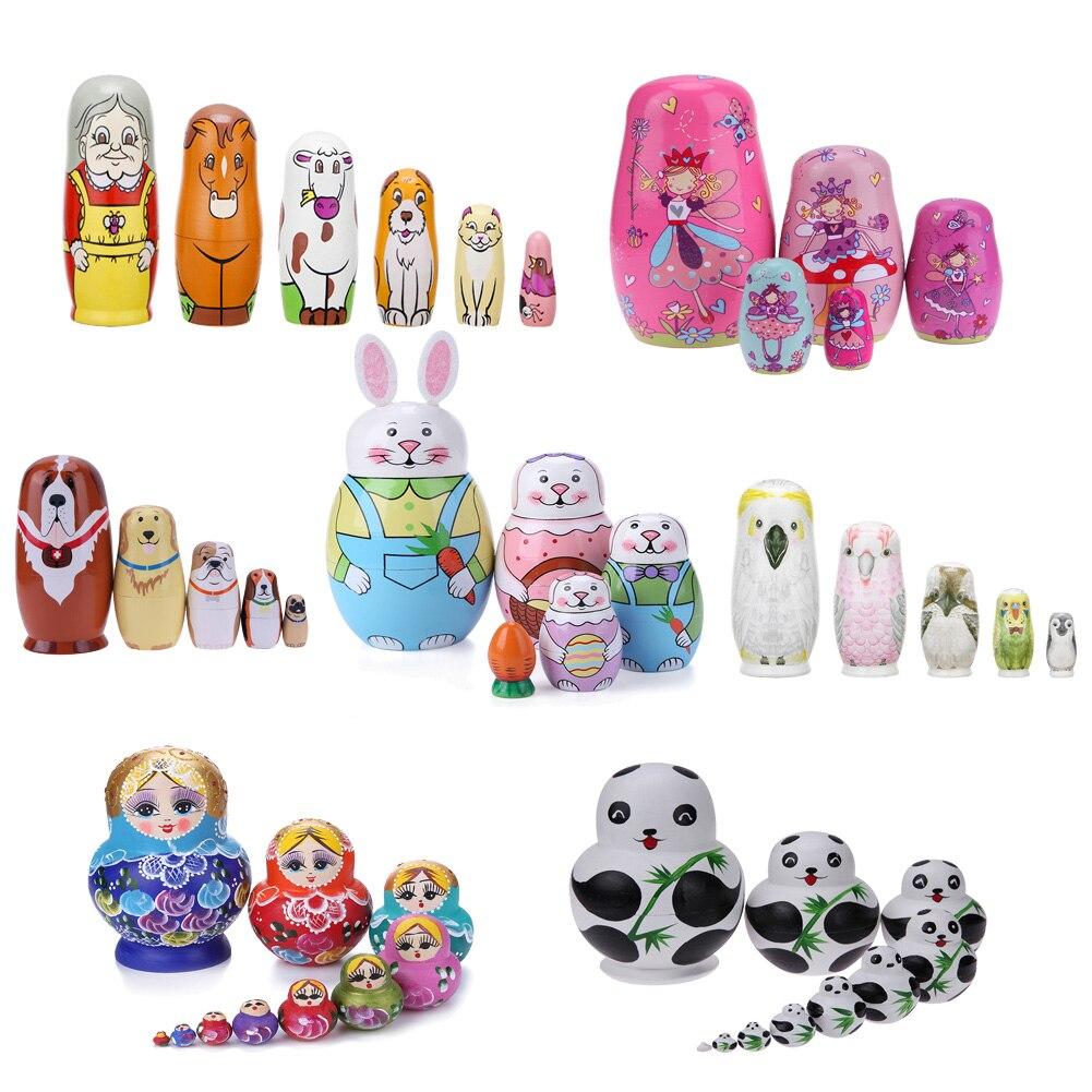 Деревянные русские куклы-матрешки, 1 комплект, куклы-матрешки, бабушка, ручная работа, забавные детские подарки на день рождения, кукла ручно...