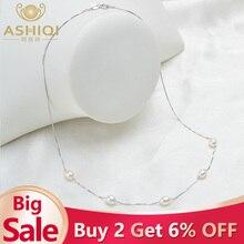 ASHIQI Настоящее чистое 925 пробы Серебряное ожерелье цепь 6-7 мм подвеска из натурального пресноводного жемчуга ювелирные изделия для женщин подарок