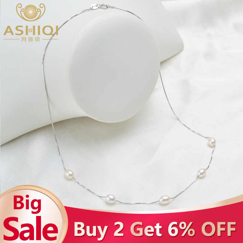 ASHIQI Real Pure 925 Sterling Silver Necklace Chain 6-7mm Natural Freshwater Pearl Pendant Jewelry For Women Gift