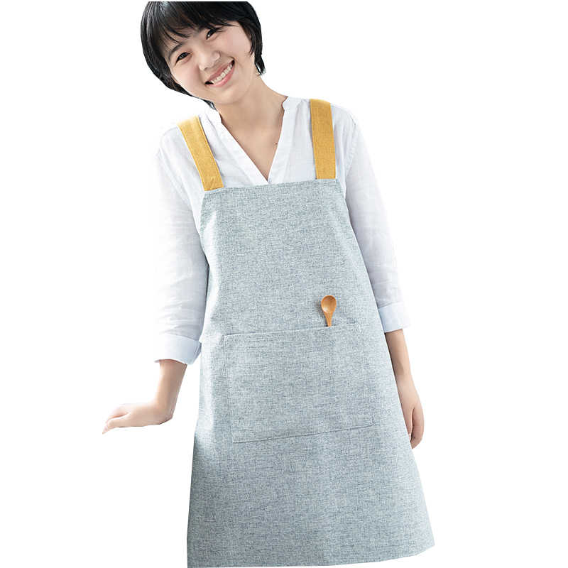 Delantal de cocina pintura de trabajo delantales algodón Lino estilo general cocina flor tienda delantal para hombres mujeres delantal